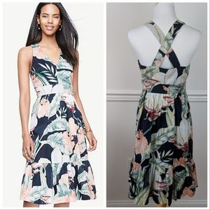 Ann Taylor Petite Island Floral Cross Back Dress 6